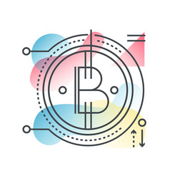 blockchain bitcoin concept in trendy line vector image