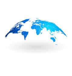 blue world map globe isolated on white background vector image
