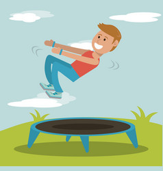 Boy practicing jumping trampoline sport design vector