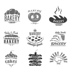 Bread icons and cakes symbols for bakery vector