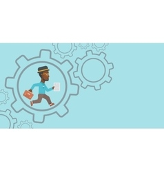 Businessman running inside the gear vector image