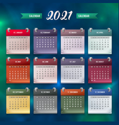 calendar template 2021 vector image