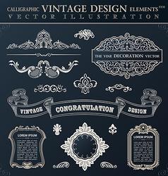 Calligraphic black elements vintage congratulation vector