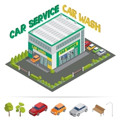 Car service car wash isometric building vector