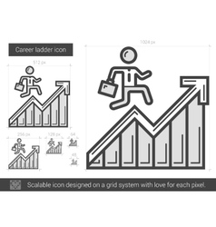 Career ladder line icon vector