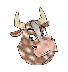 cartoon bull animal farm strong power vector image