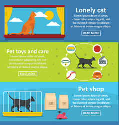 Cat care tools banner horizontal set flat style vector