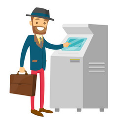 caucasian white man using atm for cash withdrawal vector image