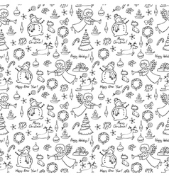 Christmas doodle seamless vector