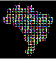 colored dot brazil map vector image
