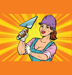 Construction worker with trowell woman vector