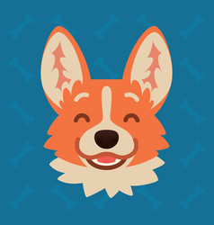 corgi dog emotional head of vector image