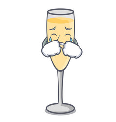 crying champagne mascot cartoon style vector image