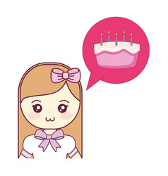 cute and little girl thinking in sweet cake vector image