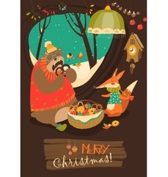 Cute bear and fox celebrating Christmas in den vector