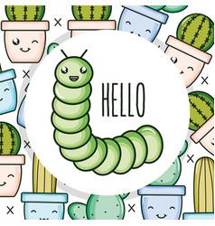 cute little worm kawaii character vector image