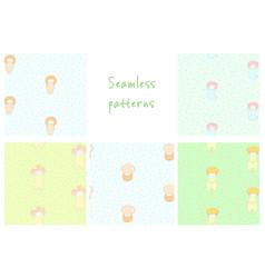 Cute mushroom patterns vector