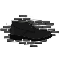 Derby black shoe lace on a gray brick wall vector