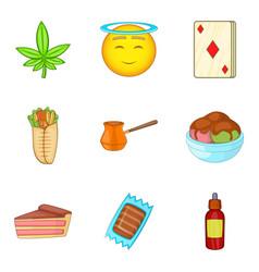 diabetes icons set cartoon style vector image