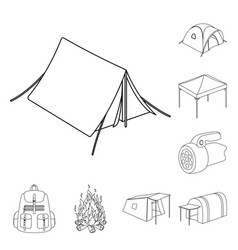 Different kinds of tents outline icons in set vector