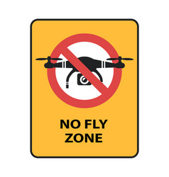 drone no fly zone sign yellow prohibition sign vector image