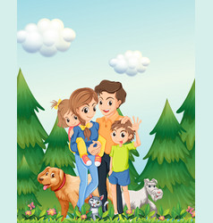 family in woods scene vector image