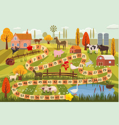 Farm animals board game cow bull sheep rooster vector