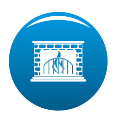 Fireplace icon blue vector