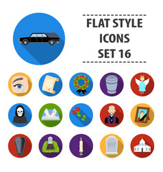 Funeral ceremony set icons in flat style big vector