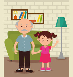 Grandfather with granddaughter in the livingroom vector