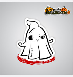 helloween evil ghost voodoo doll pop art comic vector image