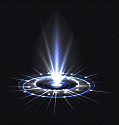 Hologram blue ray or ufo portal magic beam vector