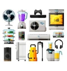 home appliances icons set collection of elements vector image