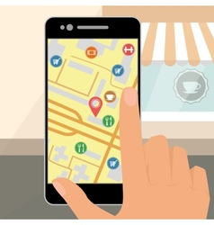 human hand is holding smartphone with mobile gps vector image