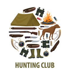 Hunting club poster of hunter weapon and equipment vector