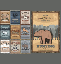 Hunting sport hunting club retro posters vector