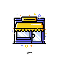 icon small shop building or boutique with showcase vector image