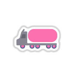 In paper sticker style tank vector