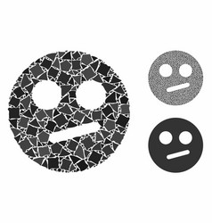 Indifferent smiley mosaic icon tremulant parts vector