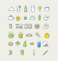 kitchen icons for cafe menu restaurant food icons vector image