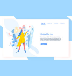Landing page template with girl standing against vector