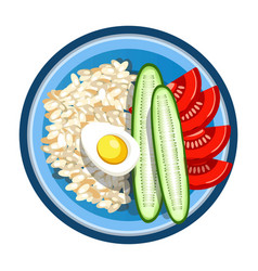 Lunch box with meals of fried egg rice garnish vector