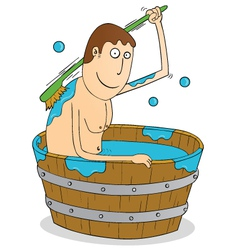 Man in vintage bath tub vector