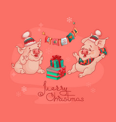 merry christmas card two cute pigs vector image