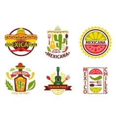Mexican food logo labels emblems and vector image