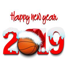 new year numbers 2019 and basketball ball vector image