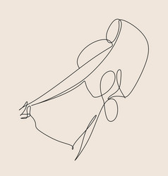 one line art abstract fashion model contemporary vector image
