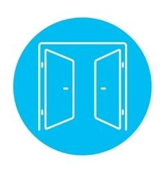 Open doors line icon vector image
