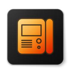Orange glowing neon house intercom system icon vector
