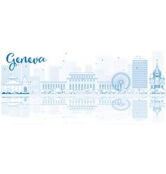 Outline Geneva skyline with blue buildings vector